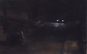 This is a small study in oils, done quickly in one go, as the car with the headlights was waiting there for only a few minutes before driving off.