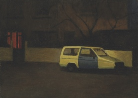 This is one of several paintings of this subject: an old Robin Reliant, that I used to see parked near my home.